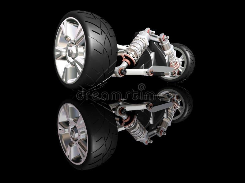 Car suspension. 3D render of car suspension with wheel vector illustration
