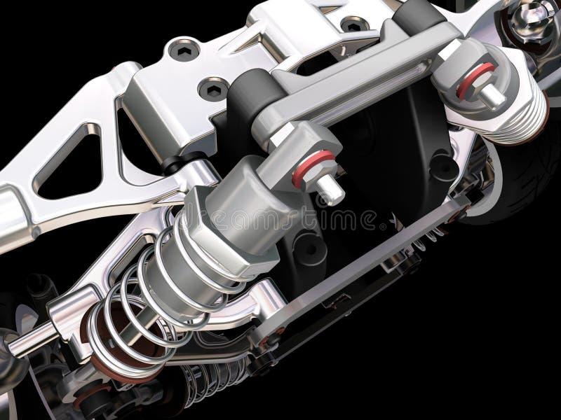 Car suspension. 3D render of a car suspension royalty free illustration