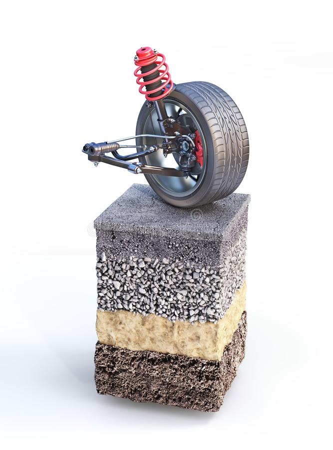 Car suspension on the piece of road. Can see road structure royalty free illustration