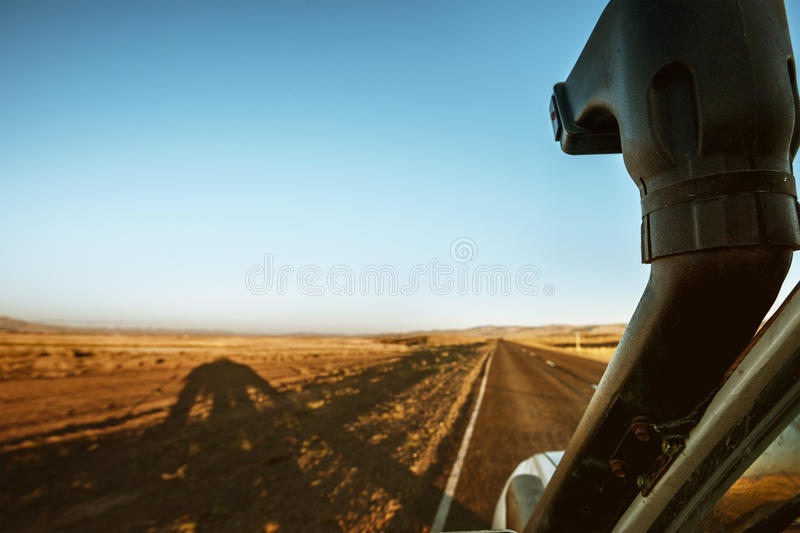 Car SUV on the straight road background royalty free stock images