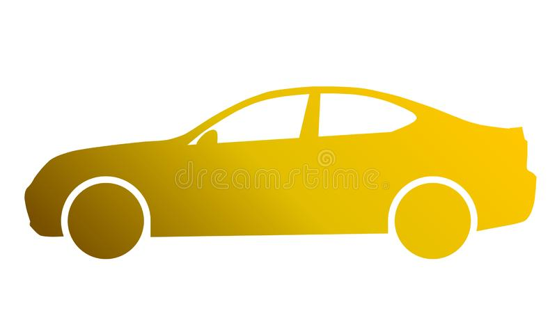 Car symbol icon - golden gradient, 2d, isolated - vector vector illustration