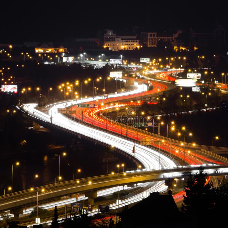 Free Car Tail Light Trails Making Superman`s Sign Royalty Free Stock Photos - 163663138