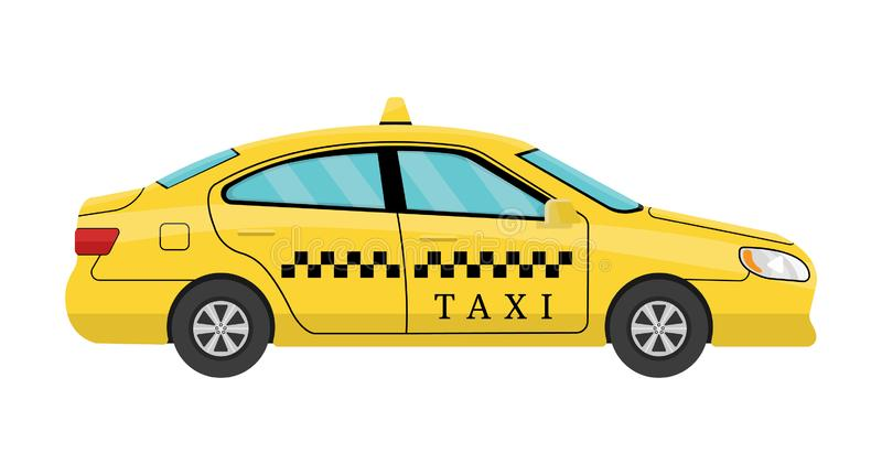 Car Taxi in Flat Style. View from Side. Taxi Yellow Car Cab isolated on white background. For Taxi Service App, Transport Company. Car Taxi in Flat Style. View stock illustration
