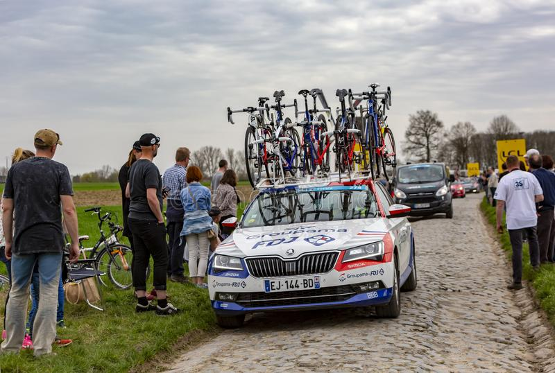 The Car of Team Groupama-FDJ - Paris-Roubaix 2018 royalty free stock photography