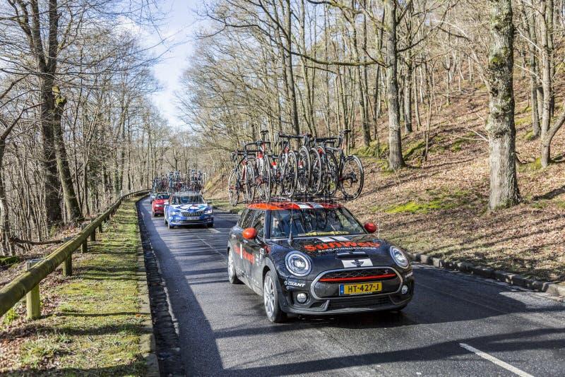 The Car of Team Sunweb - Paris-Nice 2017 stock photos
