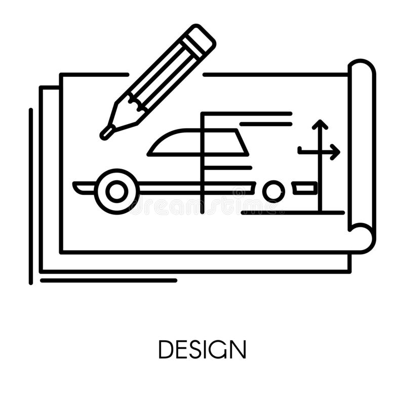 Car technical design, mechanical engineering drawing isolated icon vector illustration
