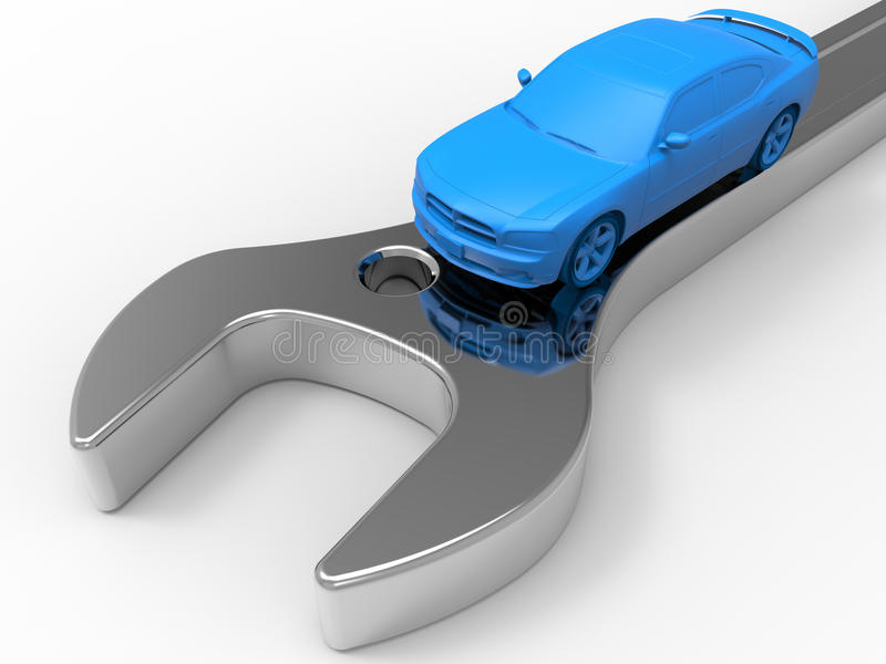 Car technical service concept. 3D rendered illustration of a car technical service concept. The composition is isolated on a white background with shadows stock illustration