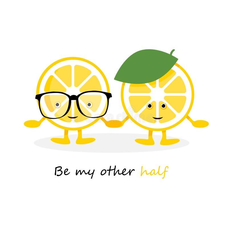 Car?ter bonito do sorriso do lim?o Frutos amarelos dos desenhos animados no cartão e no chapéu dos vidros, que cartão das mãos da ilustração royalty free