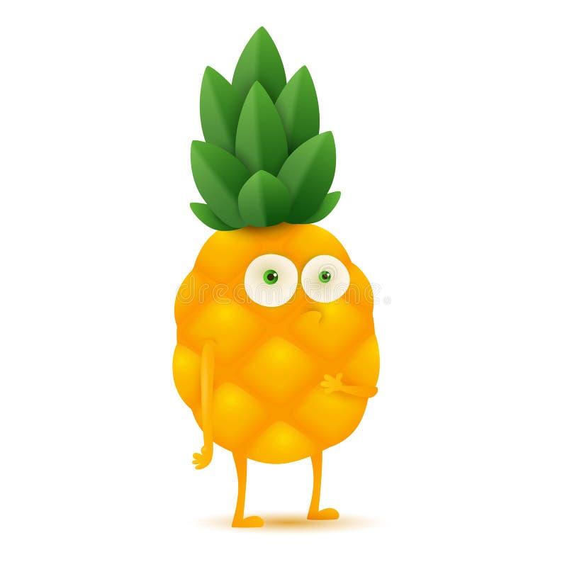 Car?ter bonito e engra?ado do abacaxi, ilustra??o do vetor dos desenhos animados isolada no fundo branco ilustração do vetor
