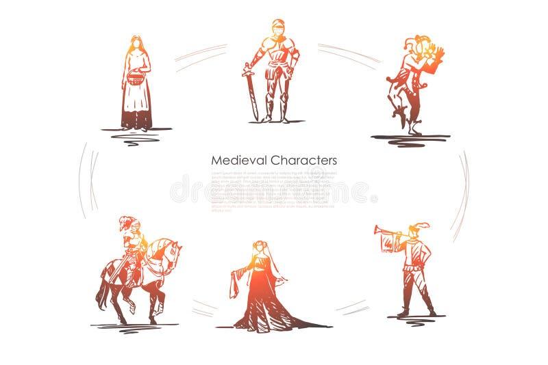 Car?teres medievais - cavaleiro, trovador, buffon, mulher do campon?s e grupo do conceito do vetor do condessa ilustração do vetor