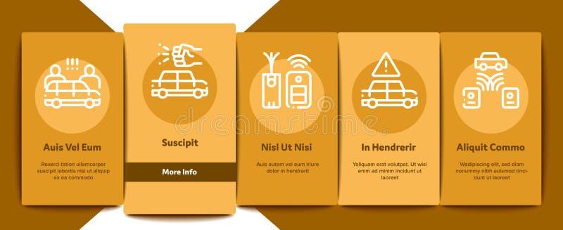 Car Theft Onboarding Elements Icons Set Vector 皇族释放例证