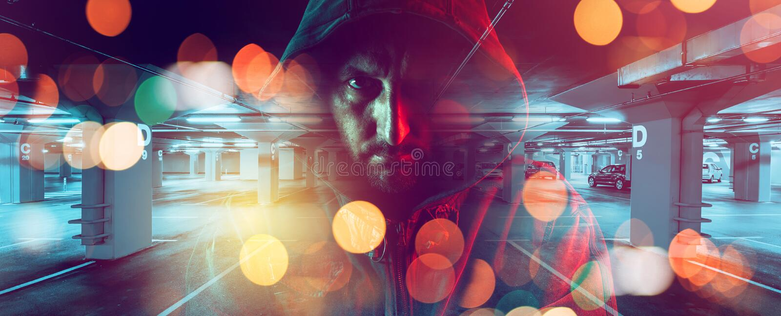 Car thief conceptual image stock images