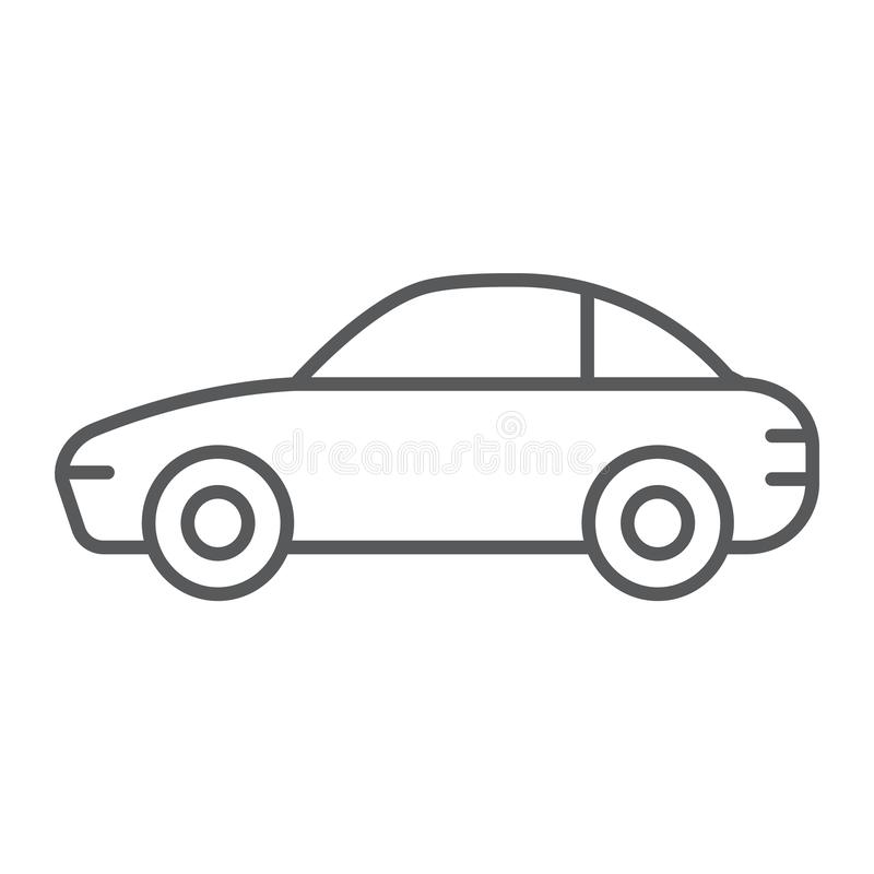 Car thin line icon, traffic and vehicle, automobile sign, vector graphics, a linear pattern on a white background. Car thin line icon, traffic and vehicle royalty free illustration
