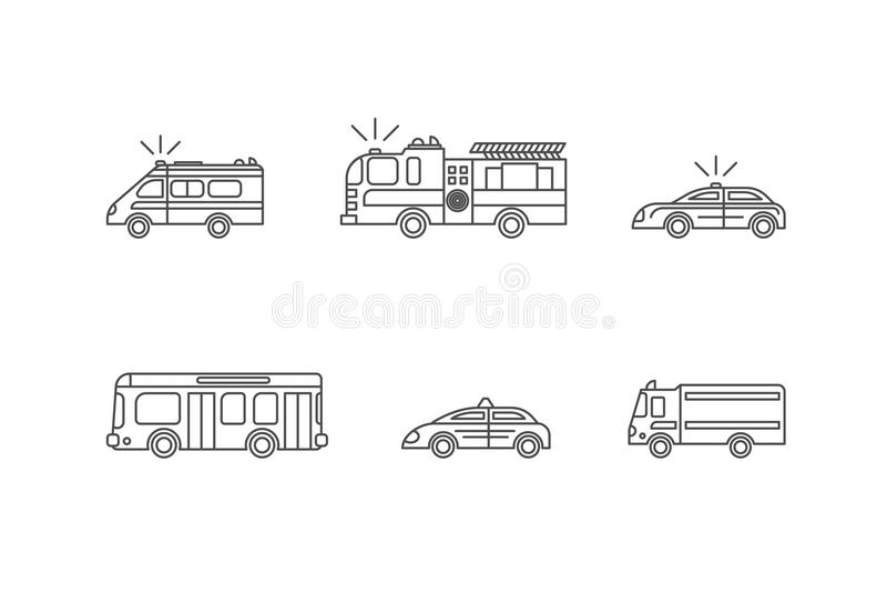 Car Thin Line Icons Set. Vector vector illustration