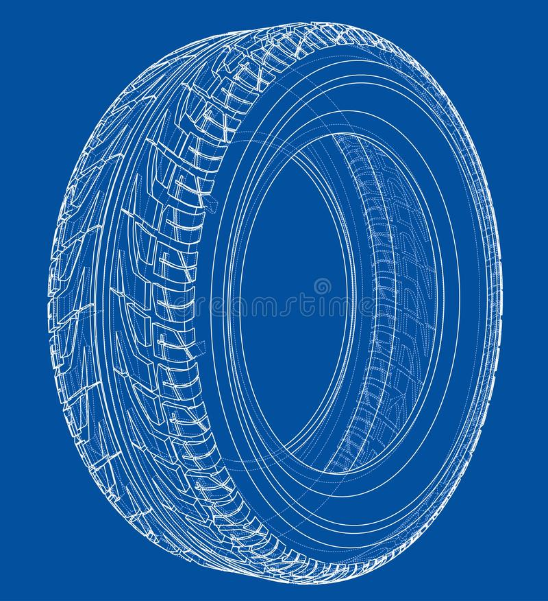 Free Car Tire Concept. 3d Illustration Royalty Free Stock Images - 133377369