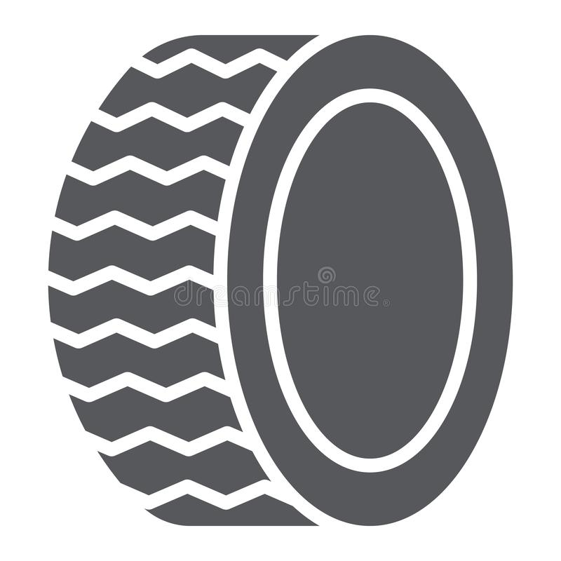 Car tire glyph icon, auto and part, wheel sign, vector graphics, a solid pattern on a white background. royalty free illustration