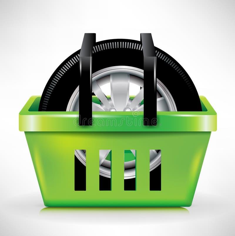 Car tire in shopping cart/basket royalty free illustration