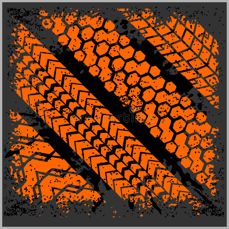 Car tire tracks with grunge - vector set stock illustration