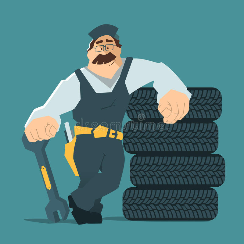 Car tire tyre service. Strong smile man holding wrench and leaning on a stack of wheel. Car tire tyre service illustration stock illustration