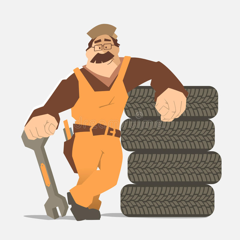 Car tire tyre service. Strong smile man holding wrench and leaning on a stack of wheel. Car tire tyre service illustration vector illustration