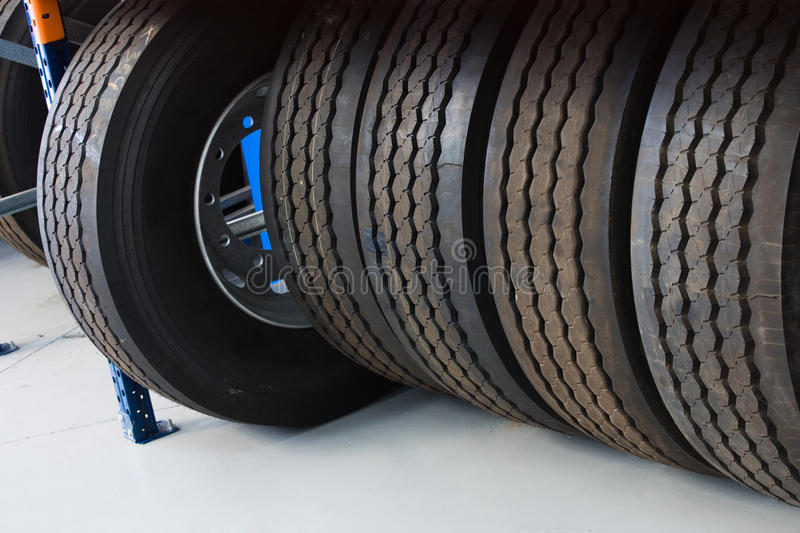 Car tires. New car tires in garage store stock photography
