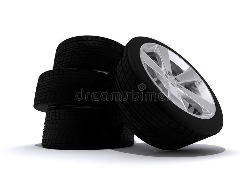 Download Car tires stock illustration. Image of wheel, stack, modern - 18019692