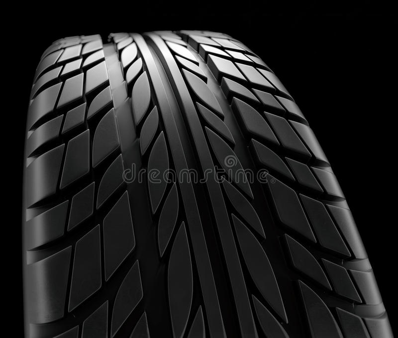 Car tires close-up Winter wheel profile structure on black background - 3d rendering. Car tires close-up Winter wheel profile structure on black background vector illustration