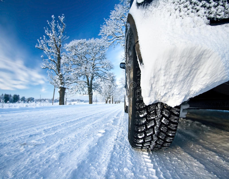 Car tires. Car on the countryside road stock images