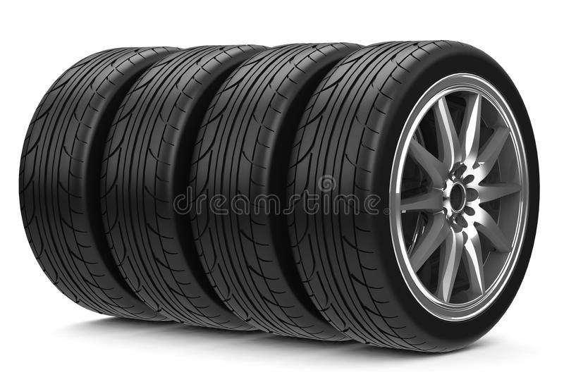 The car tires. 3d generated tires for a car vector illustration