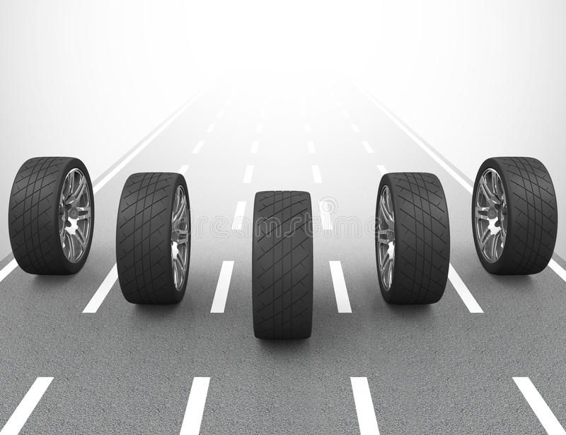 The car tires. 3d generated picture of car tires vector illustration