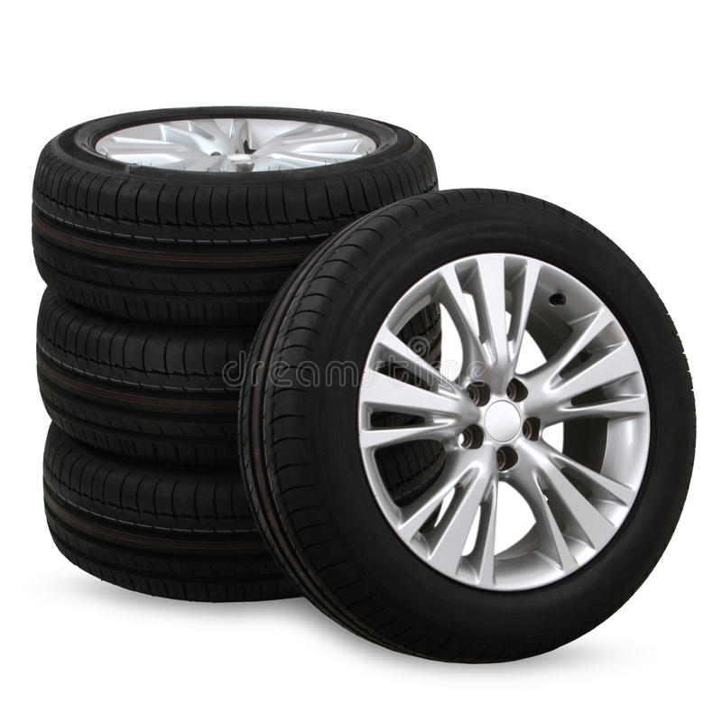 Free Car Tires On A White Background Royalty Free Stock Photo - 64918685
