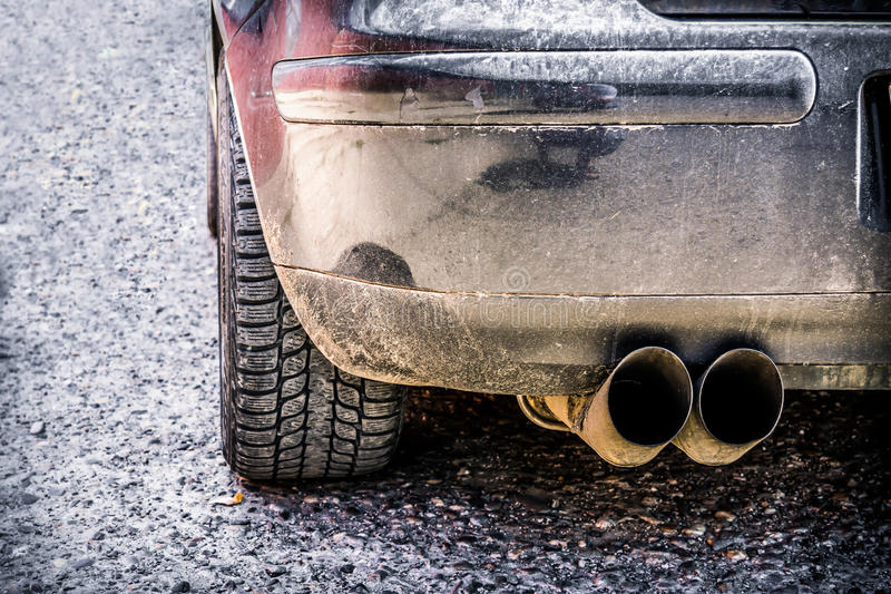 Car tires on road. Low angle view to car tires royalty free stock photography