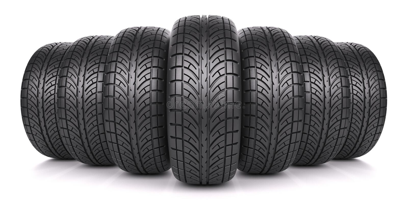 Car tires in row. Isolated on white background 3d stock illustration