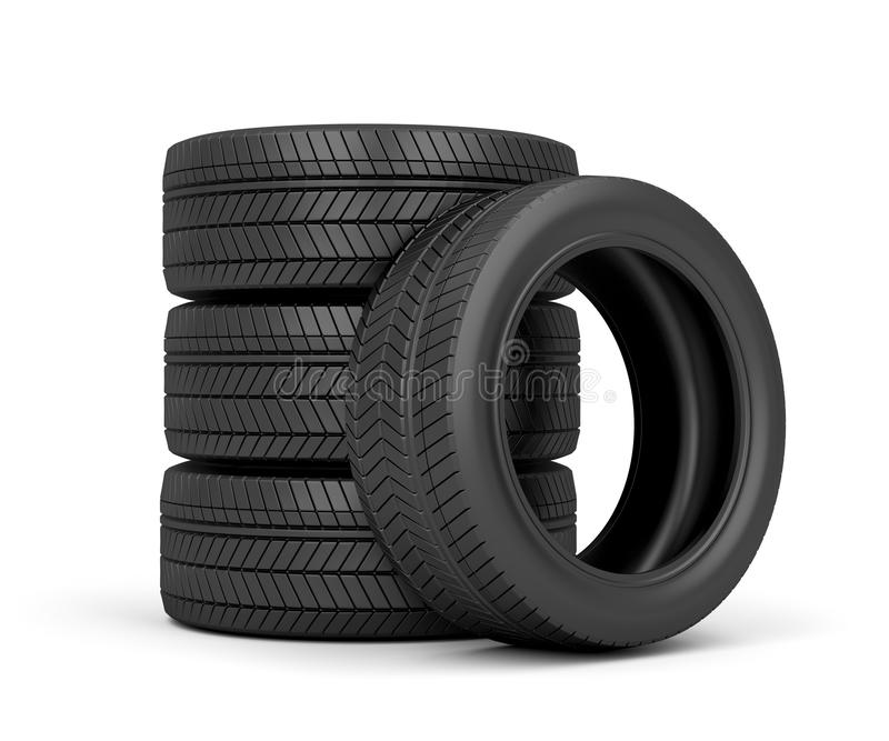 Car tires. Set of car tires on white background vector illustration