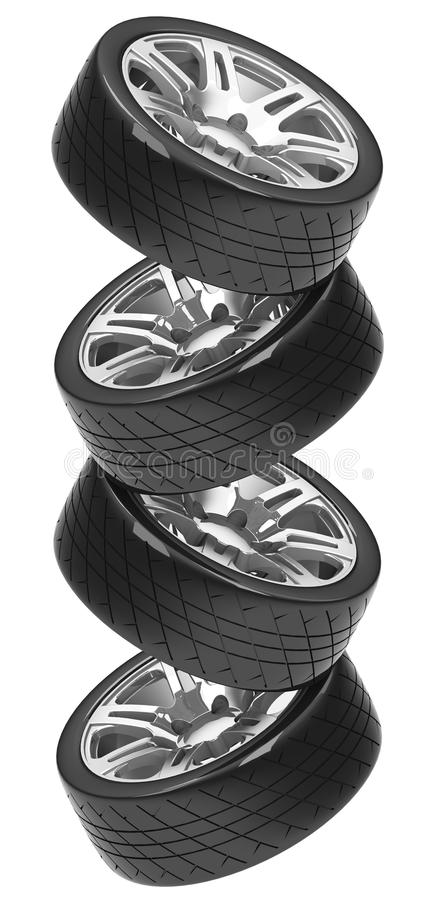 The car tires stack. 3d generated picture of a car tires stack vector illustration
