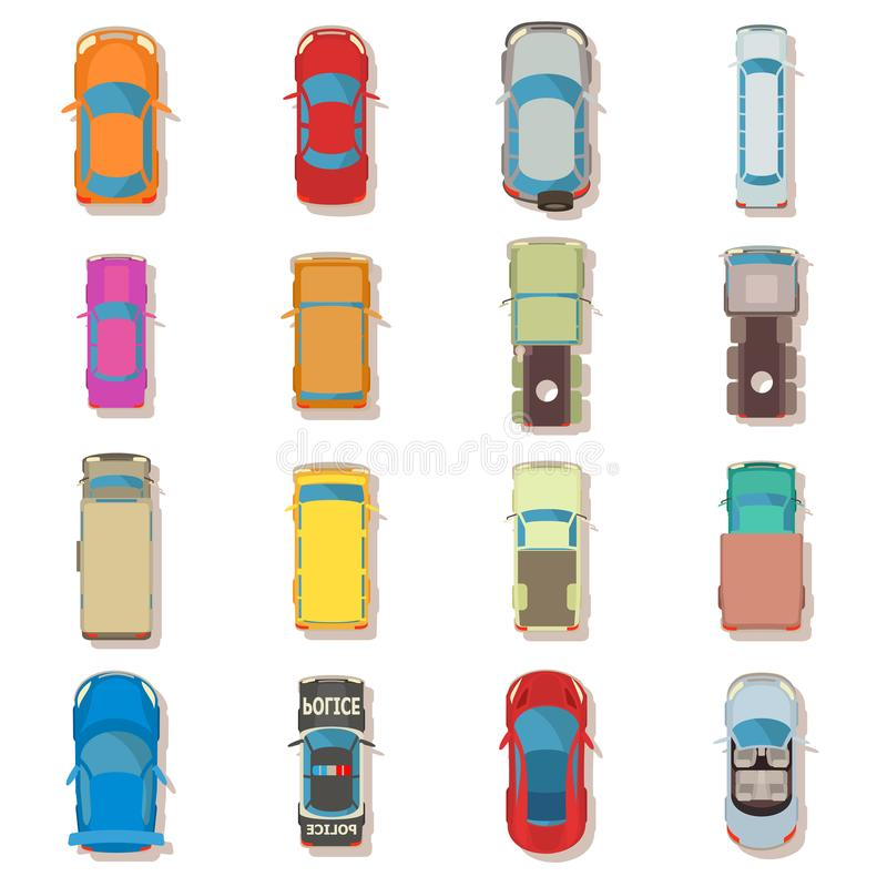 Car top view above over icons set, flat style stock illustration