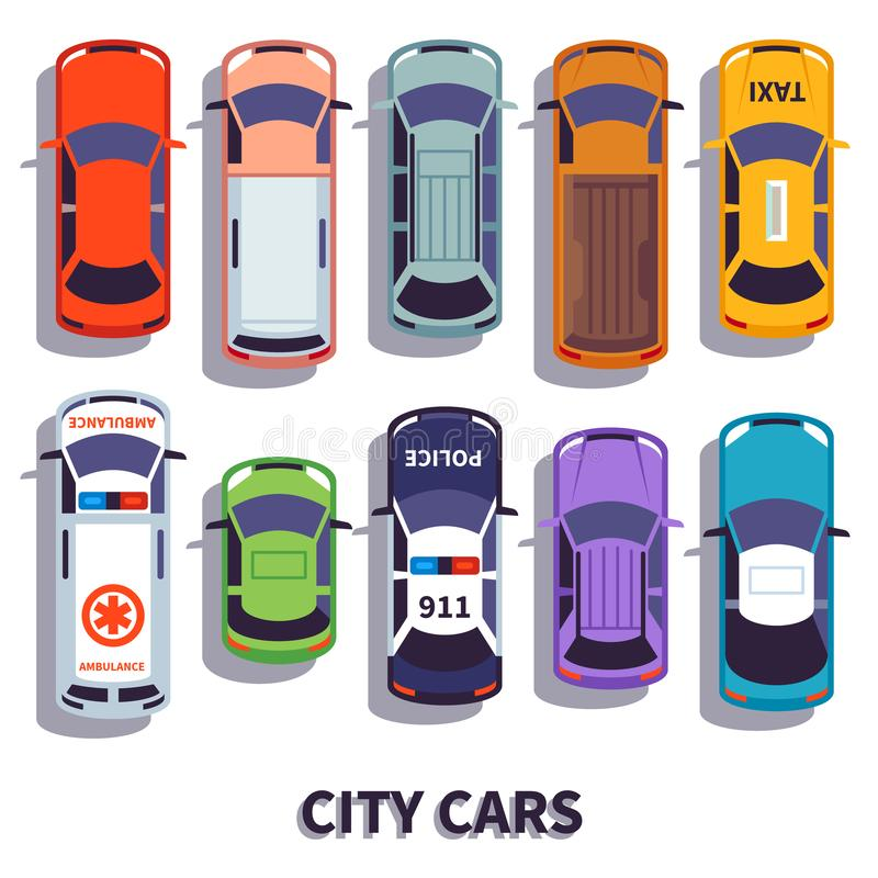 Car top view. City vehicle transport. Automobile cars for transportation, from above auto car vector isolated icons royalty free illustration