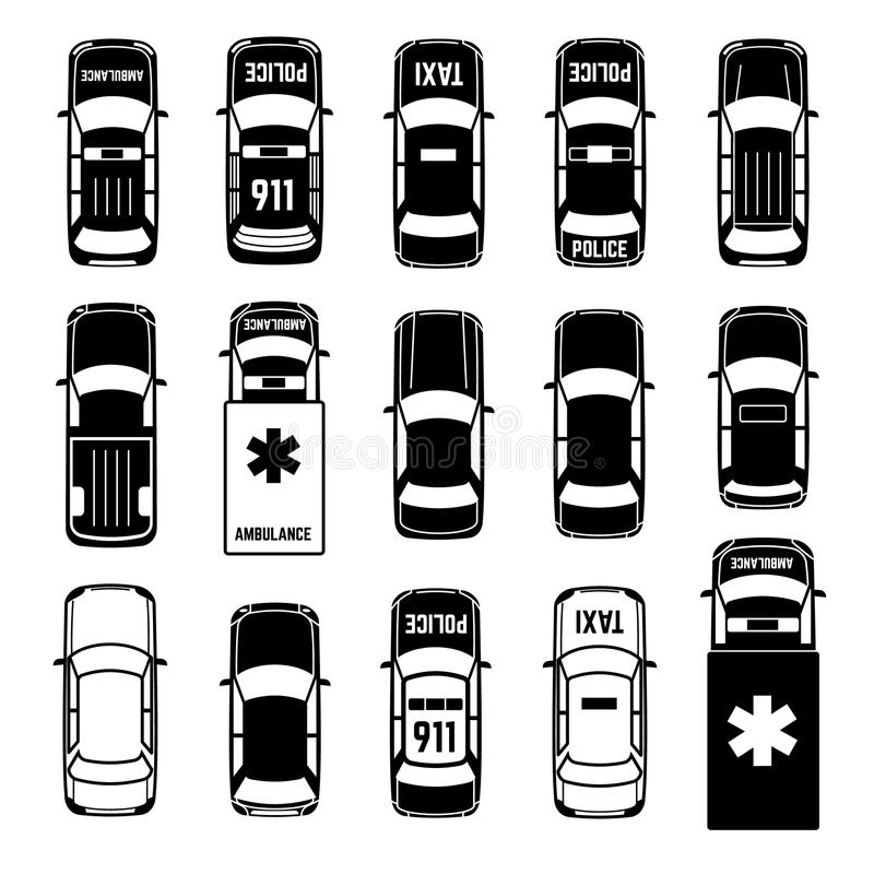 Car Top View Transportation Vector Black Icons Stock