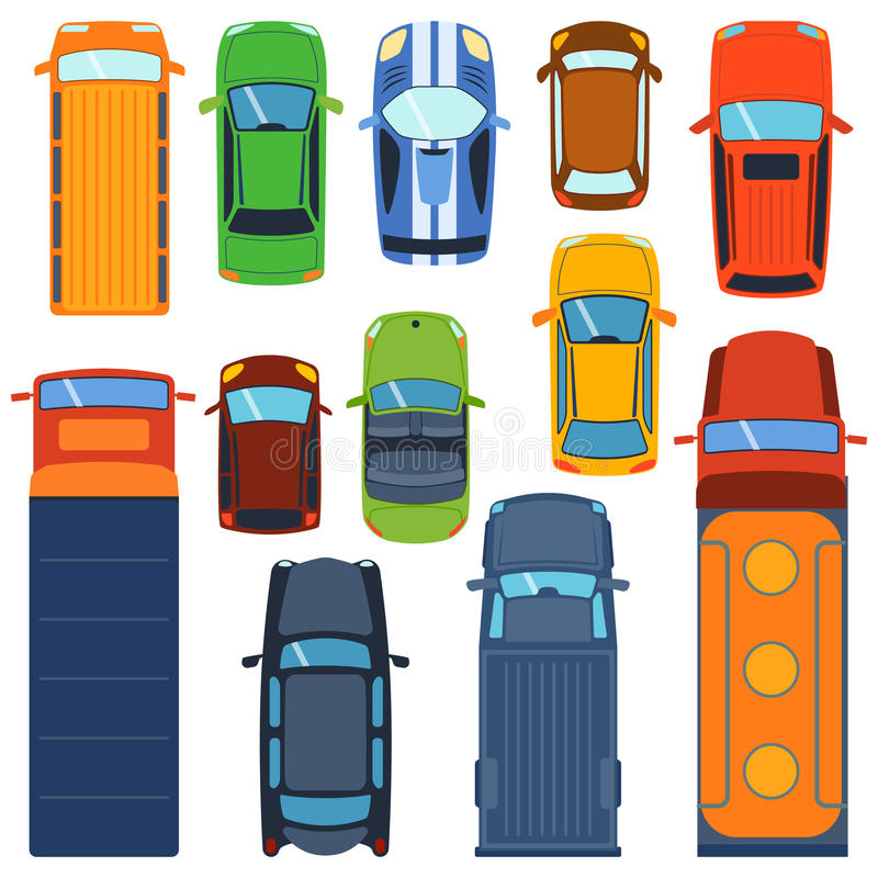 Cars Collection In Top View: Car Top View Vector Set. Stock Vector. Illustration Of