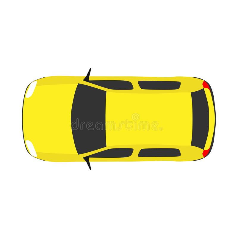 Car top view vector travel. Above white background road. Drive concept isolated urban object summer illustration. Outdoor icon ci stock illustration