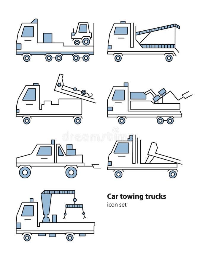 Car towing truck roadside assistance. Vector lineart illustration for icon, logo. Evacuators car set. stock illustration