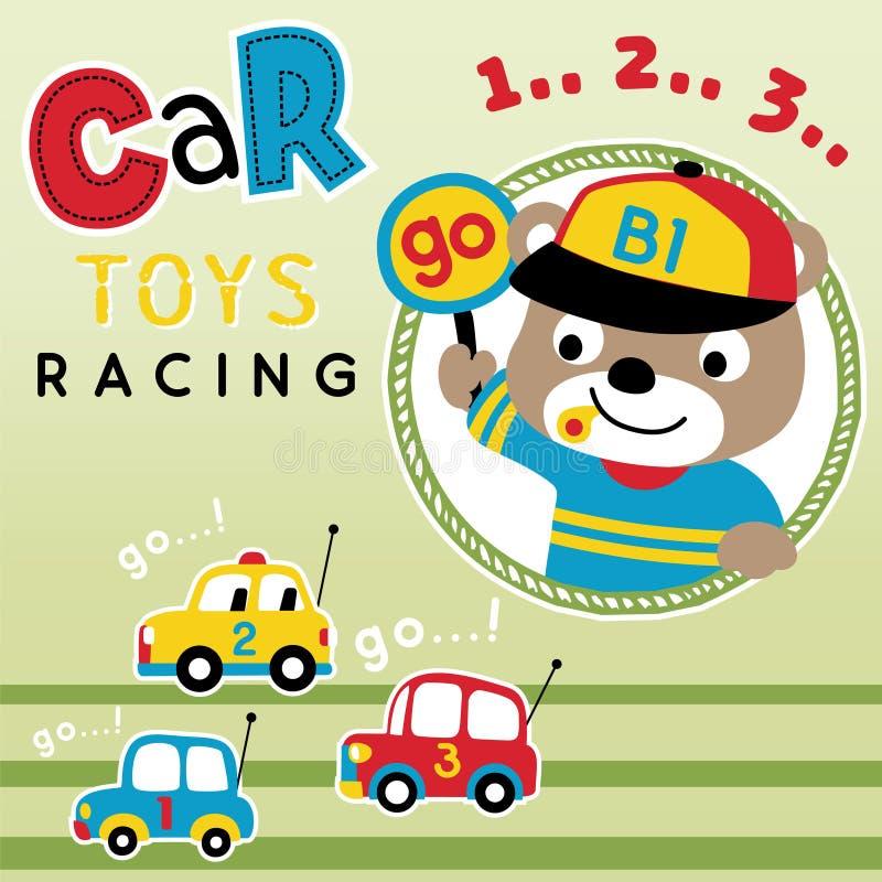Car toys racing cartoon vector. Car toys racing competition with a cute bear, vector cartoon illustration, no mesh, vector on EPS 10 stock illustration