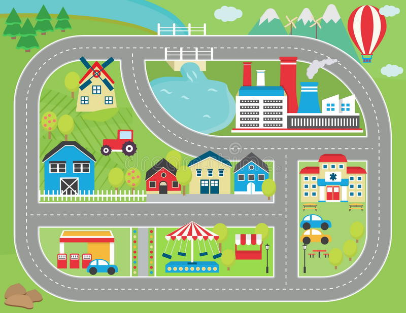 Car track play placemat vector illustration