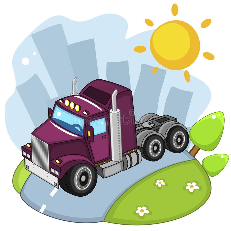 Car tractor. A beautiful illustration for children to study transport or design, truck tractor purple, rides through the city royalty free illustration