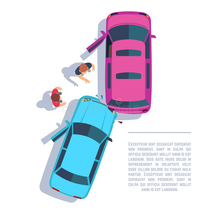 Car traffic accident. Crashed cars and people on road top view. Insurance vector concept stock illustration