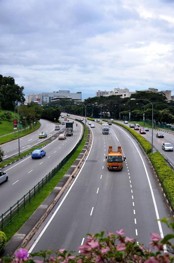Car traffic on a central Singapore road artery royalty free stock photography