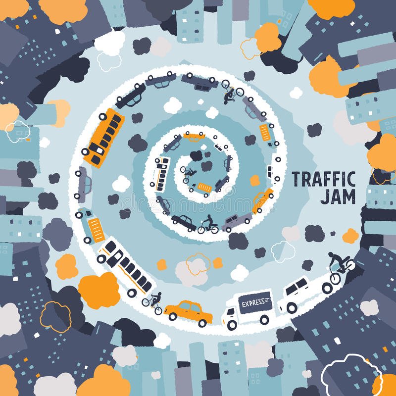 Car traffic jam concept - freehand drawing royalty free illustration