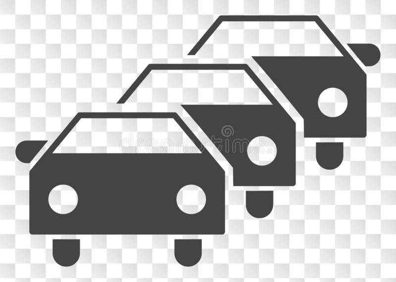 Vector Car Traffic Jam Icon on Chess Transparent Background. Car traffic jam EPS vector pictograph. Illustration contains flat car traffic jam iconic symbol on a stock illustration