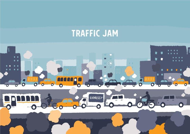 Car traffic jam royalty free illustration