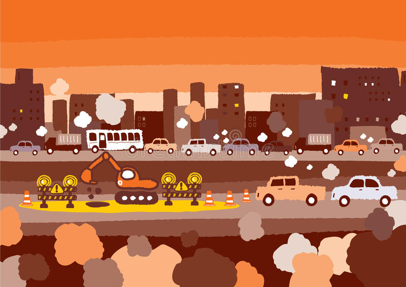 Car traffic jam royalty free illustration